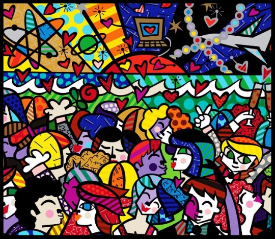 Paris Art Web - Romero Britto - Original Painting - Looking into the Future